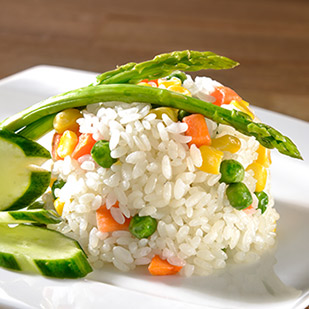 Rice dishes with vegetables